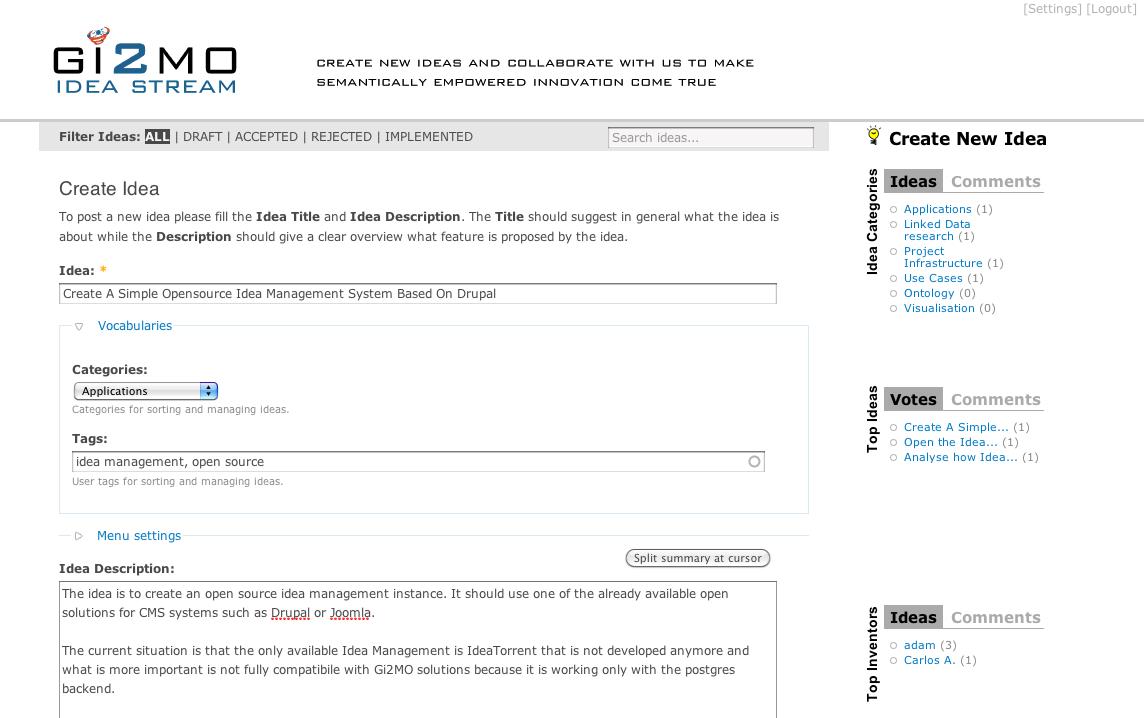 GI2MO IdeaStream Homepage » Features